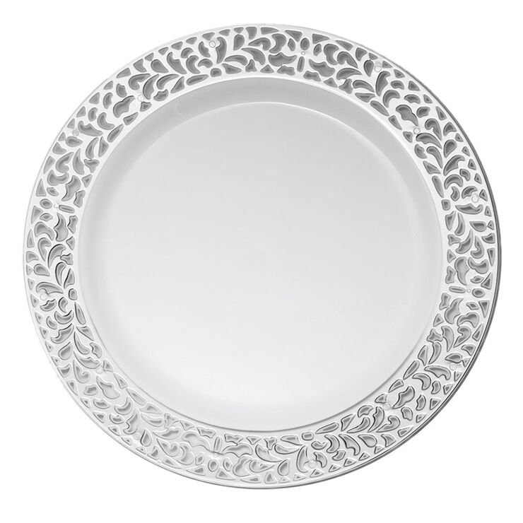 White Dinner Plates with Silver Pierced Detail, 10.25-in., Set of 10