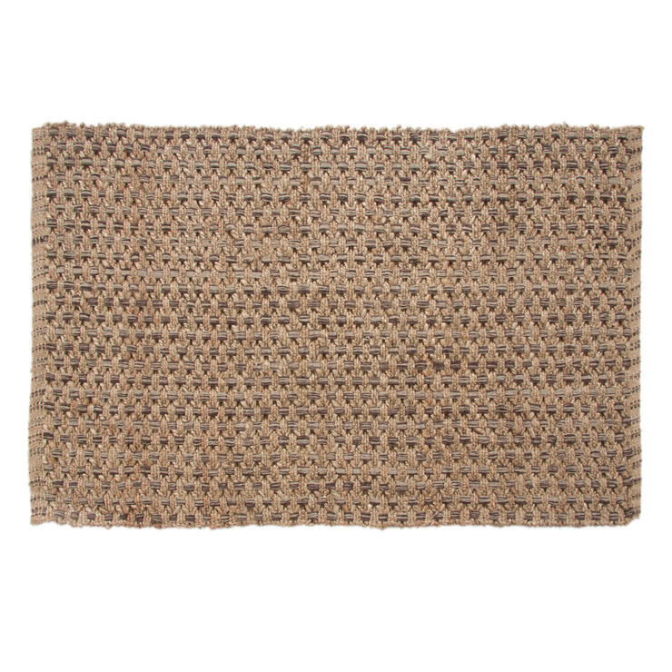 B192 Chocolate Criss Cross Jute Rug- 5x7 ft