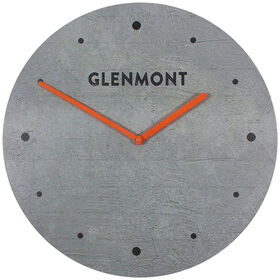 Picture of Grey Frameless Concrete Wall Clock with Orange- 16-in