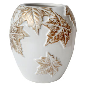 Picture of 6in White Vase with Gold Leaves