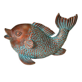 Picture of Copper & Green Fish Statue 13.3-in