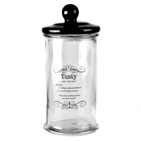 Picture of Glass Storage Jar with Black Lid- 60-oz