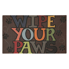 "Picture of Stitched ""Wipe your paws"" - 18x30"