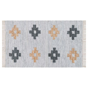 Picture of Shawman Tribal Leather Ivory Rug 3x5-ft.