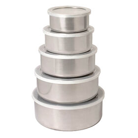 Picture of Stainless Steel Storage Box with Clear Lid- 5-Piece Set
