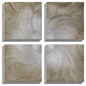 Picture of Hand Painted 4-Piece Silver Swirl Canvas Art- 28x28 in.