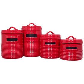 Picture of Red Round Chalkboard Food Canisters - Set of 4