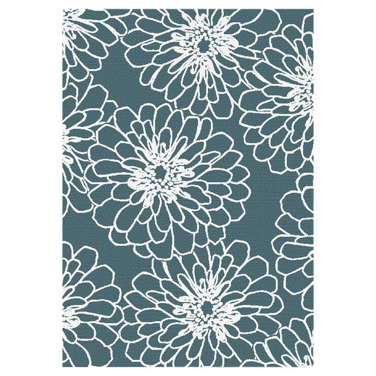 D268 Aqua and White Marigold Rug 5 X 7