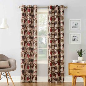 Picture of Paprika Jupiter Pattern Window Curtain Panel 84-in