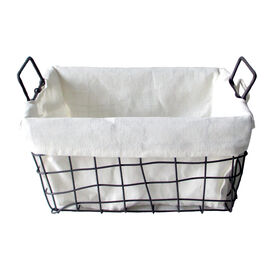 Picture of Rectangular Woven Metal Wire Basket with Handles - Medium