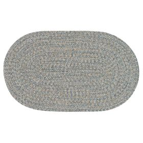 Picture of Blue and Beige Braided Oval Rug- 27x45 in.