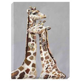 Picture of Two Giraffes Hand Painted Canvas Art- 45x60 in.