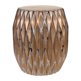 Picture of Metallic Gold Brown Ceramic Garden Stool- 17-in