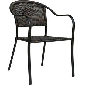 Dark Brown Wicker Barrel Chair