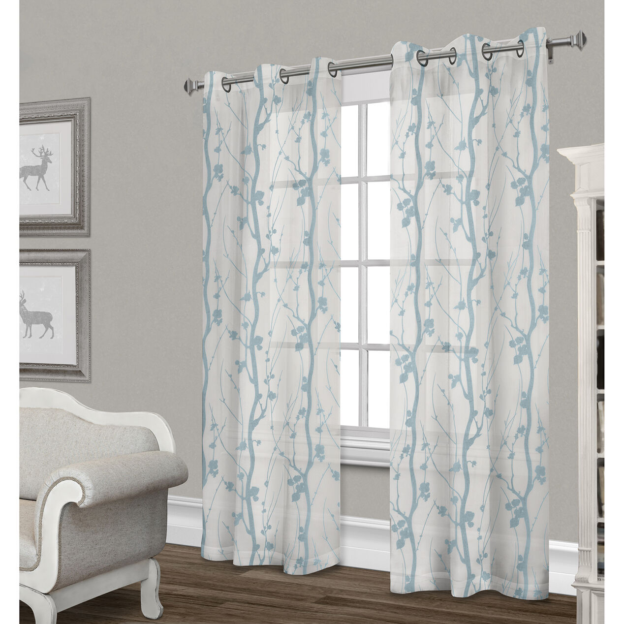 Corfu Sheer Curtain Panel White Teal 84 In At Home