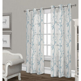 Picture of Corfu Sheer Curtain Panel- White & Teal 84-in