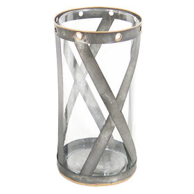 Picture of IND GALV/GLASS LANTERN LG 6X12