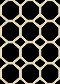 Picture of Black & White Basic Octagon Rug 5 X 7 ft