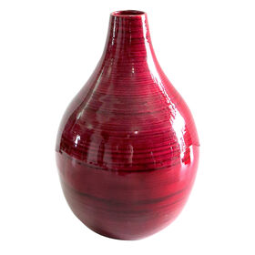 Picture of Red Bamboo Fat Vase - 6.3 X 9.84 in.