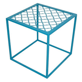 Picture of Square Stamped End Table - Turquoise 16 in.