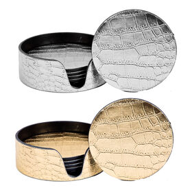 Picture of Gold/ Silver Round Crocodile Coaster Set of 6- 2 Assortments