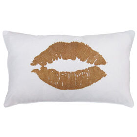 Picture of Gold Lips Decorative Pillow- 13 x 22-in