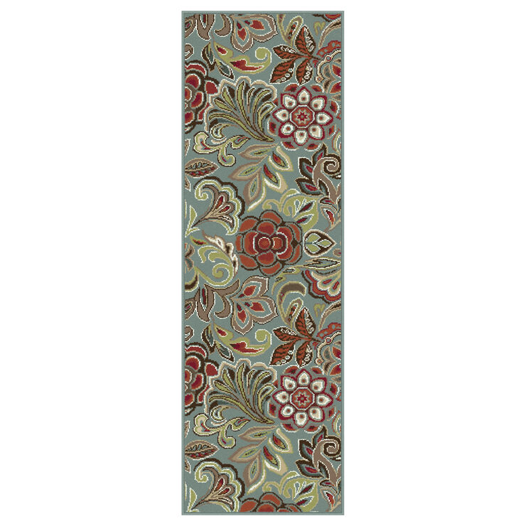 D248 Turquoise Floral Studio Runner