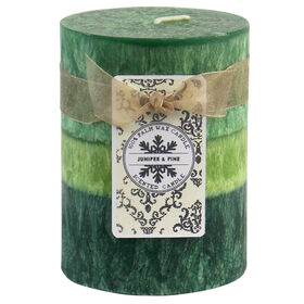 Picture of Green Juniper & Pine Pillar Candle- 3x4 in.