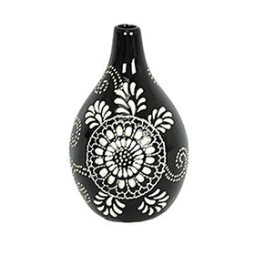 Picture of Black and White Flower Ceramic Vase - 8.4 in.