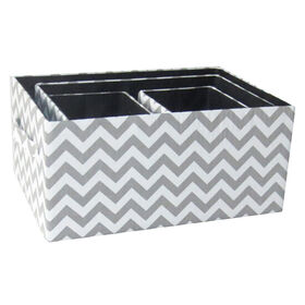 Picture of FBRC RECT CHEVRON BASKET GRY L
