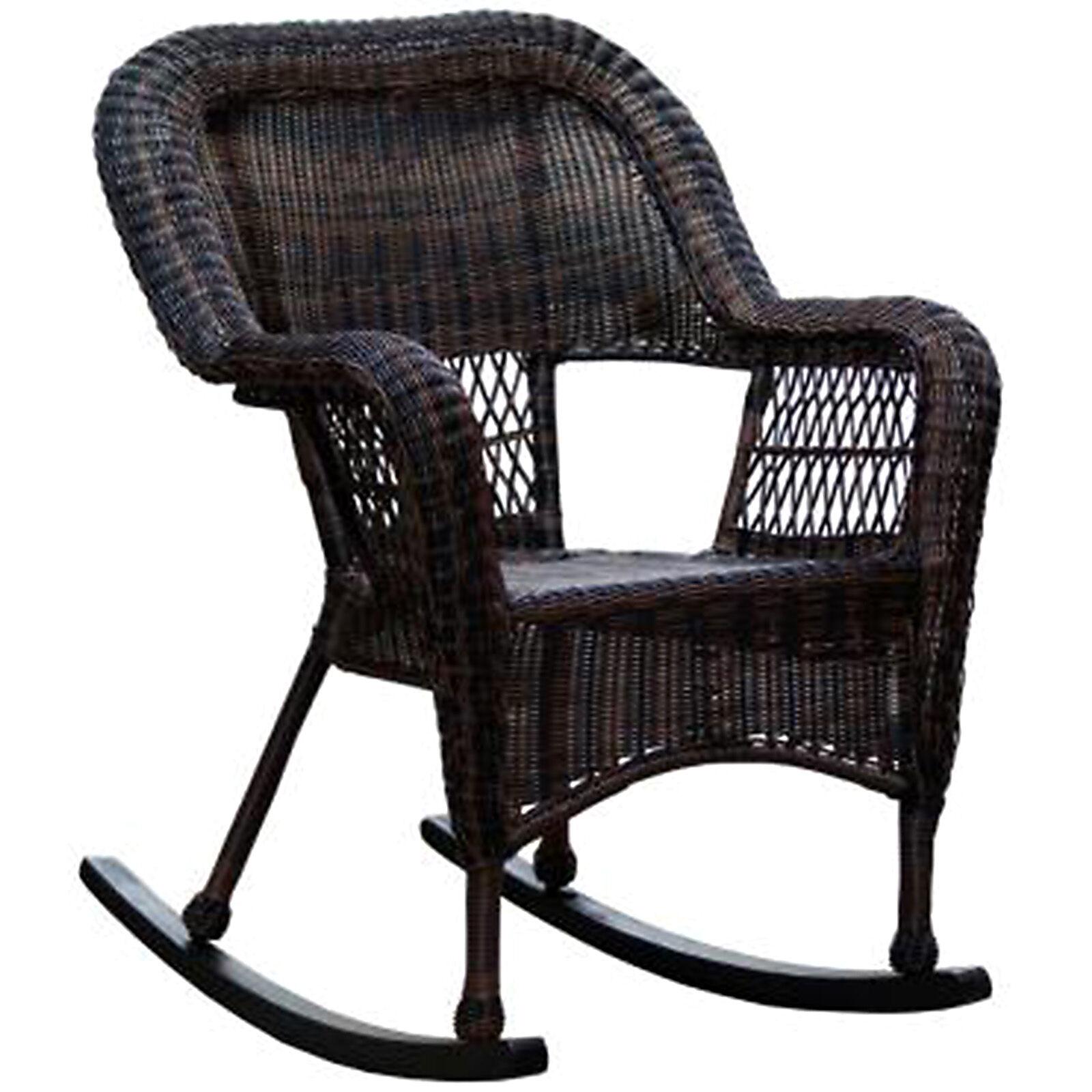 Marvelous Dark Brown Wicker Outdoor Patio Rocking Chair ...