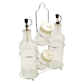 Picture of 5 Piece Oil and Vinegar Cruet and Salt and Pepper Caddy