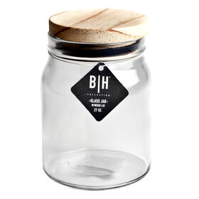 Picture of 27 Ounce Glass Jar - Wood Lid