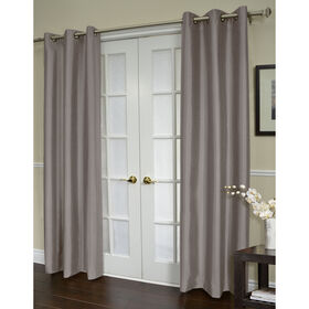 Shantung Grommet Curtain Panel- Gray 96-in