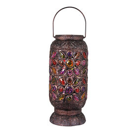 Picture of Metal Lantern with Colored Gems- 15-in