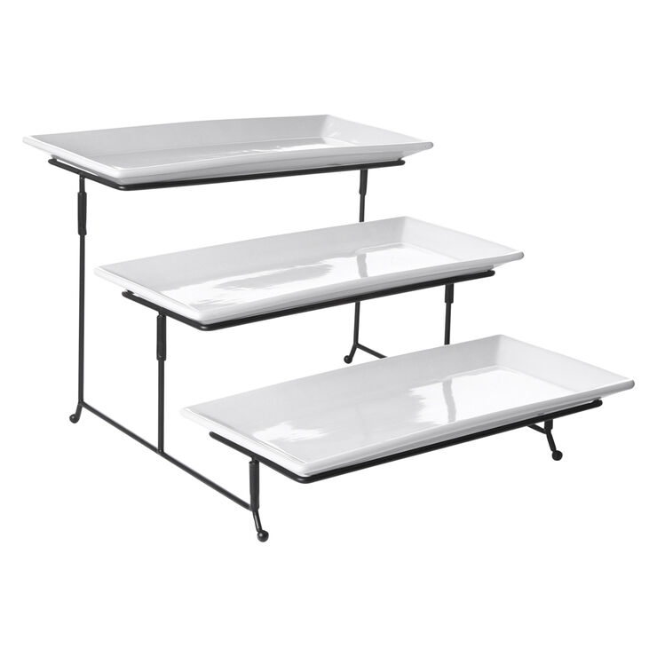 3 Tier Rectangular Plate Set with Rack