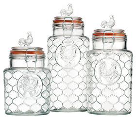 Picture of Rooster Round Glass Food Canister - Set of 3