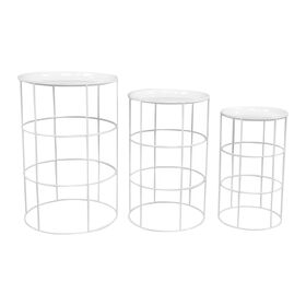 White Round Metal Drum Plant Stand- Medium (Sold Separately)
