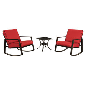 Red Rocking Chairs with Side Table- 3-Piece Set