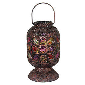 Picture of Metal Lantern with Coloful Gems- 10-in