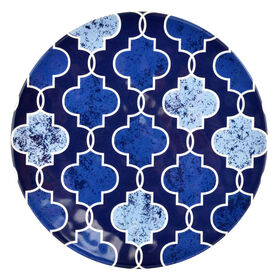 Picture of Indigo Melamine Salad Plate - Geometric Tile
