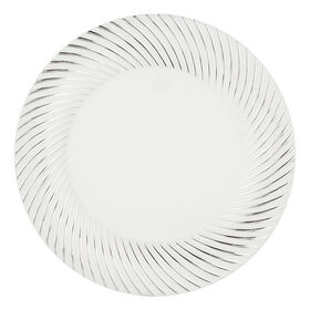 Picture of White & Silver Swirl 10-in Plates- Set of 10