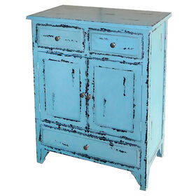 Picture of Antique Blue 3-Drawer Wood Cabinet
