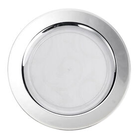 Picture of White Dinner Plates with Silver Band, Set of 10