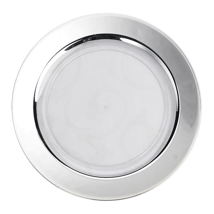 White Dinner Plates with Silver Band, Set of 10
