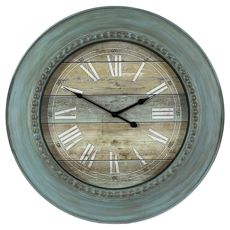 Turquoise Blue Distressed Wall Clock