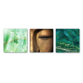 Picture of 12IN GLASS 3PC WALL BUDDHA