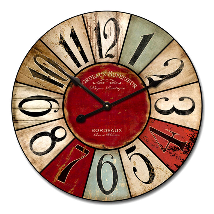 24-in Distressed Color Patch Clock