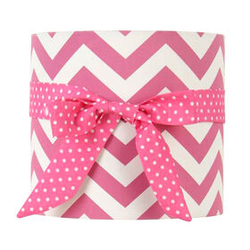 Picture of Pink Zigzag and Dot Lamp Shade with Ribbon 9 X 9 X 9-in
