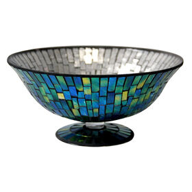Picture of Mosaic Blue and Green Pedestal Bowl 11-in